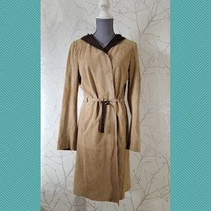 'S Max Mara Beige Leather Wrap Front Hooded Coat